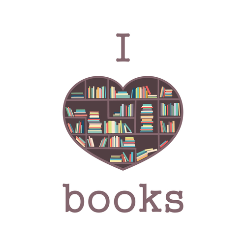 I love books. Shelves of books in the form of heart. Logo, print to the library or bookstore. BookCrossing.
